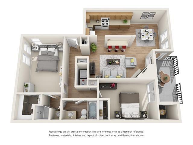 2 bed 1 bath floorplan, B2