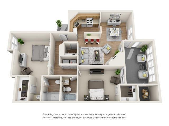 2 bed 1 bath floorplan, B3