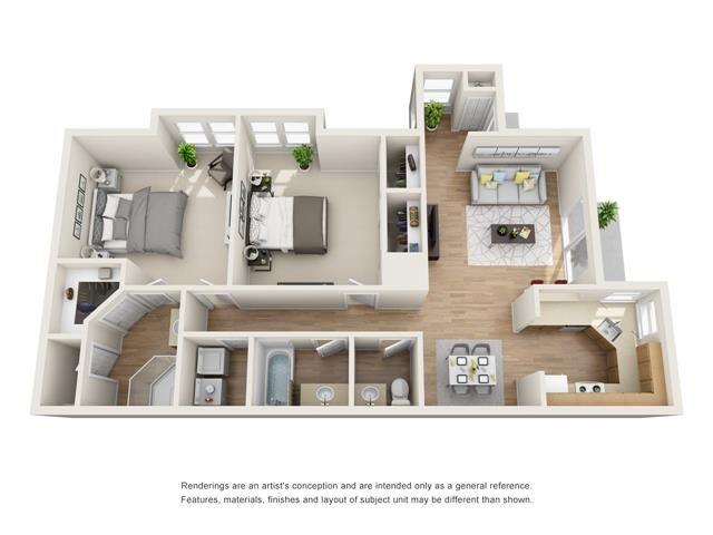 2 bed 2 bath floorplan, B6