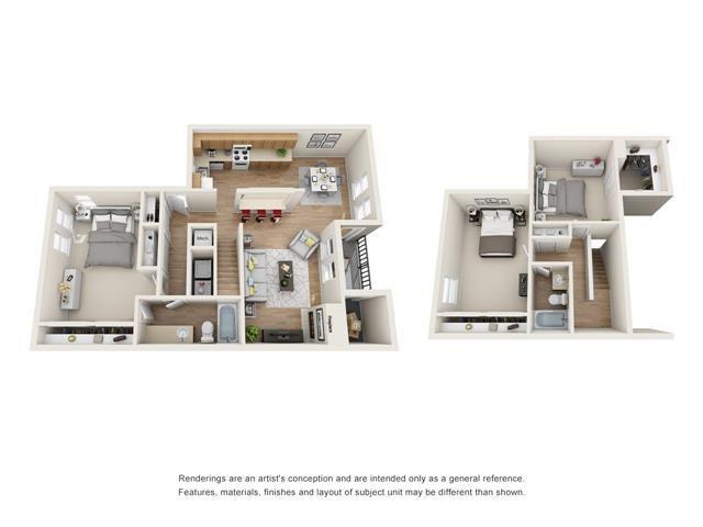 3 bed 2 bath Town Home floorplan, C1