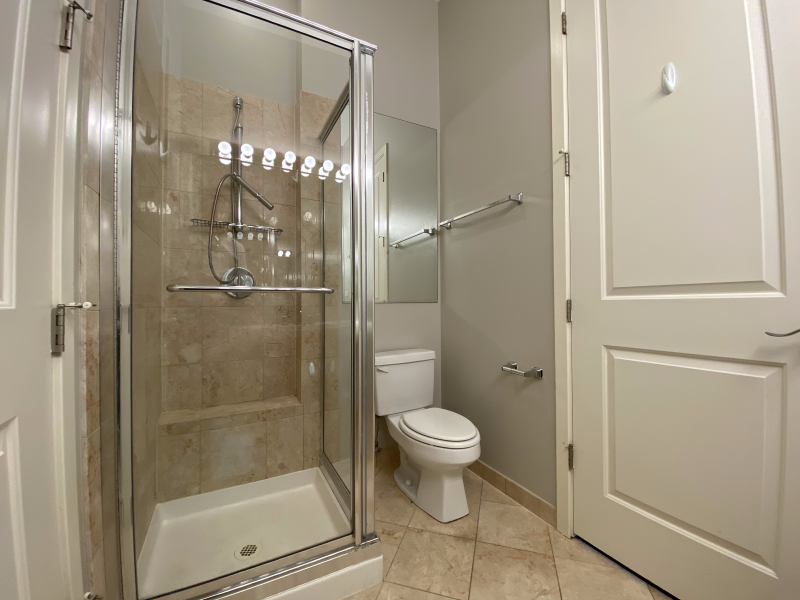 Walk-in shower in the guest bathroom
