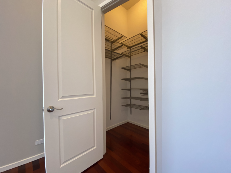 Large closets with built-in shelving