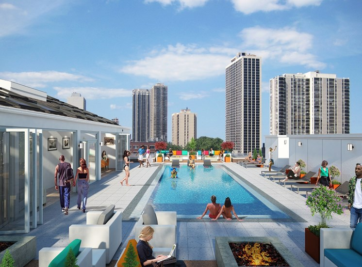 Rooftop Lounge pool with views of the Chicago skyline, park and lakefront