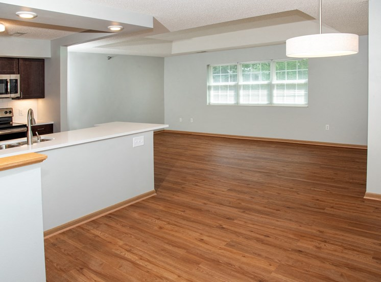 1 bedroom Wood-look flooring throughout living, dining and kitchen