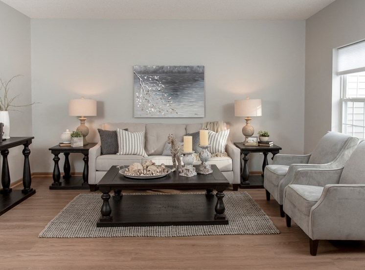 living room with neutral paint