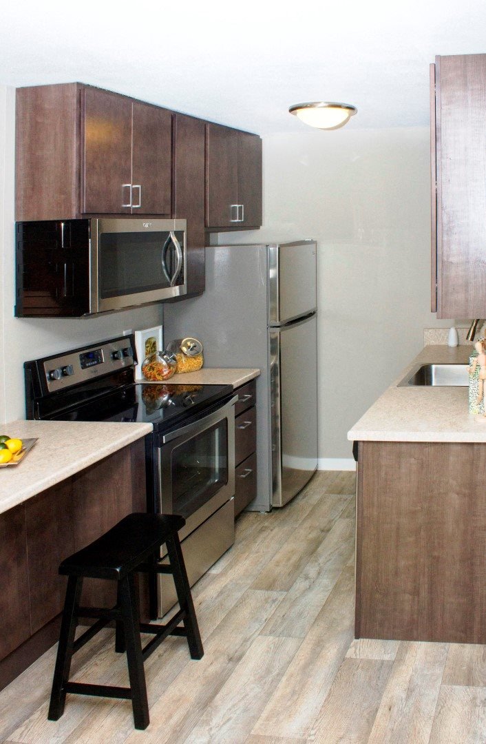 410 Apartments Model Kitchen Stainless-Steel Appliances