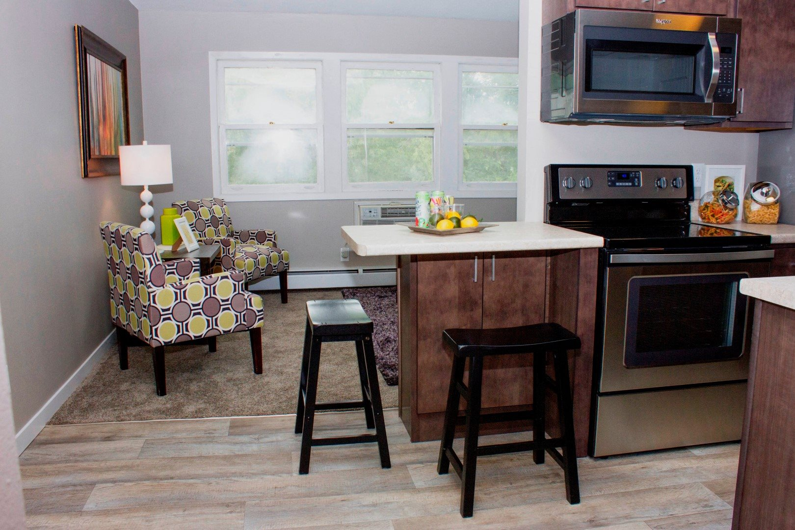 410 Apartments Model Kitchen Living Room Wood-Look Plank Flooring