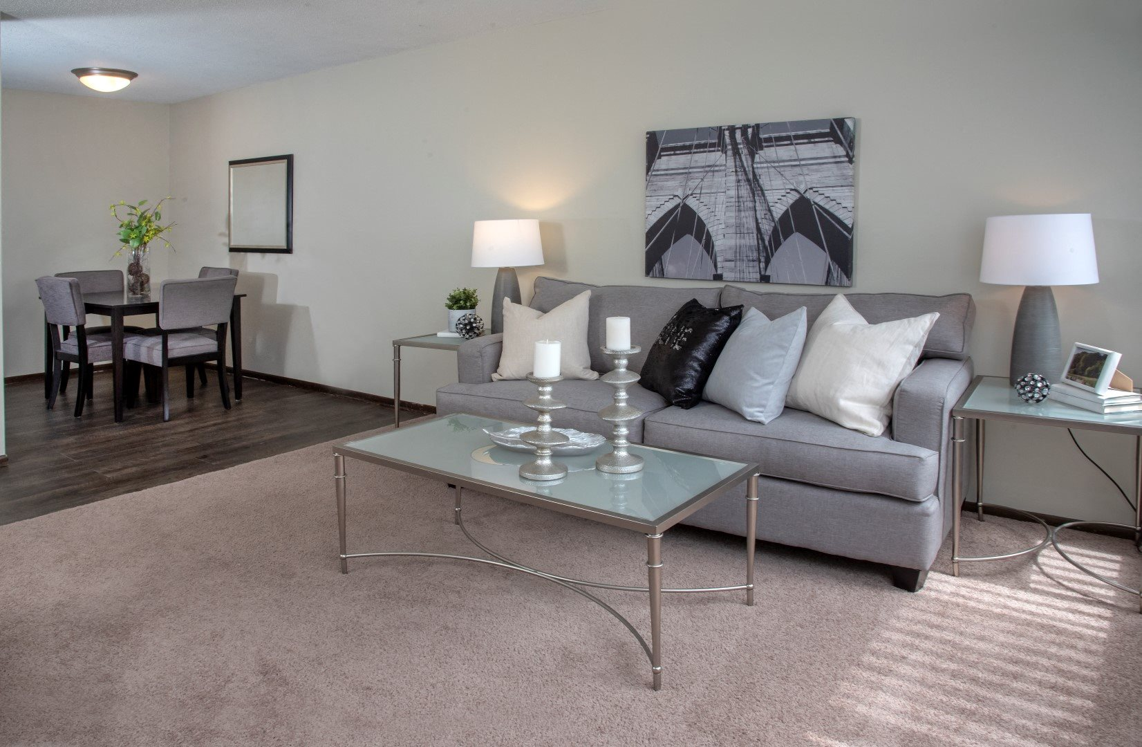Spacious Open Floor Plan Connecting Dining and Living Room at Apartment in Minneapolis, MN