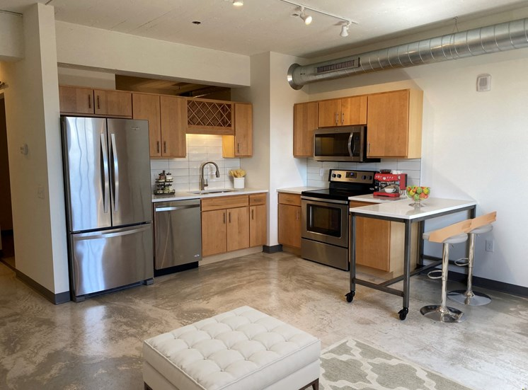 Fully Equipped Kitchen In Clubhouse at 700 Central Apartments, Minneapolis, MN