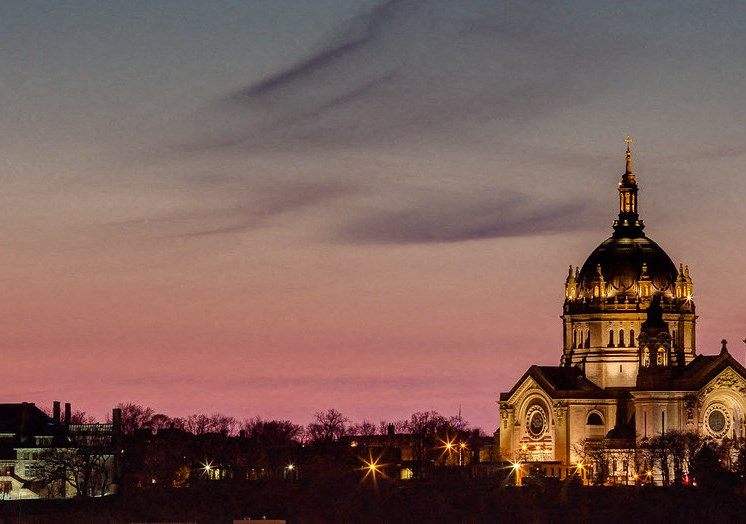 The Cathedral in St. Paul, MNj with a Beautiful, Pink Night time back drop.