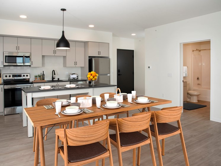 Dining Room and Kitchen View at The Hill Apartments, Saint Paul, MN, 55103