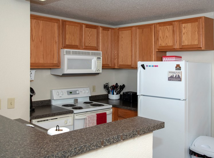 Furnished Kitchen With White Appliances at Bierman Place, Minneapolis
