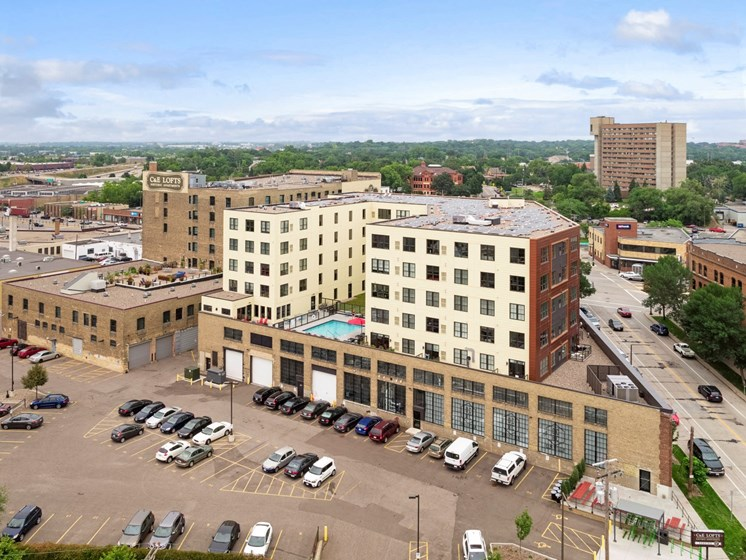 Aerial View of C&E Flats and Lofts