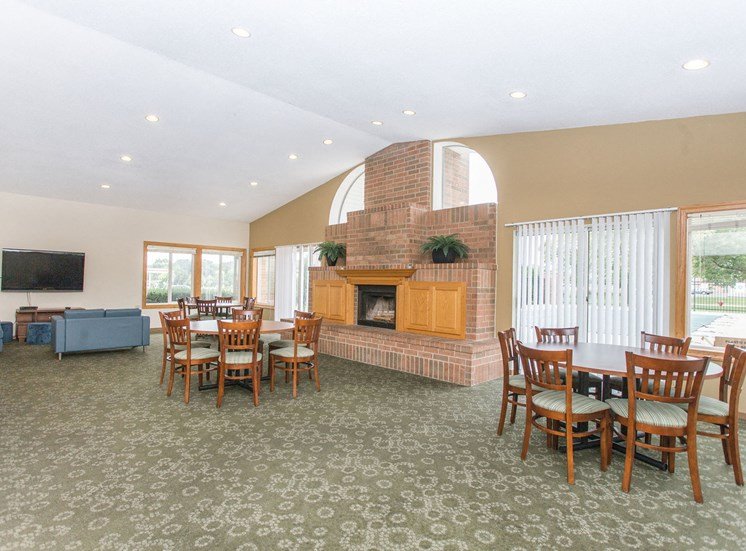 Clubhouse with community room and seating for entertaining.