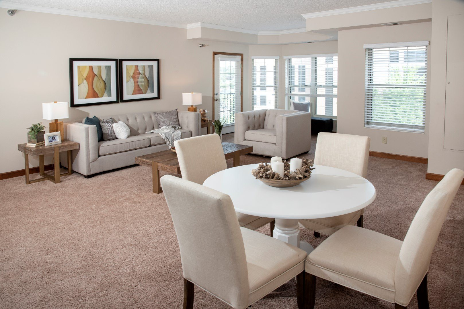 Large living room with dining area