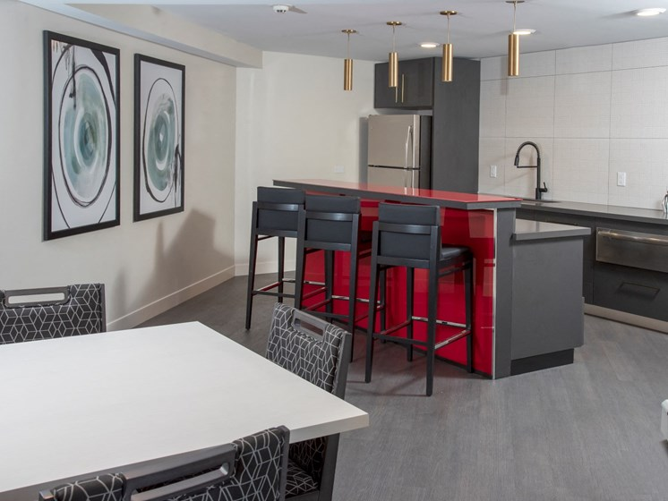 community room kitchen with tables