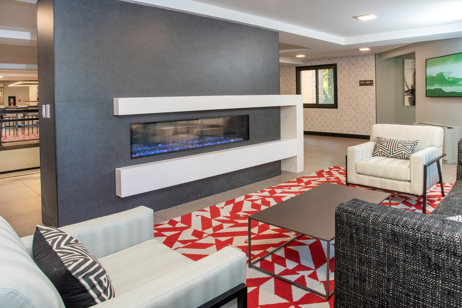 lounge with two-sided fireplace and wi-fi access