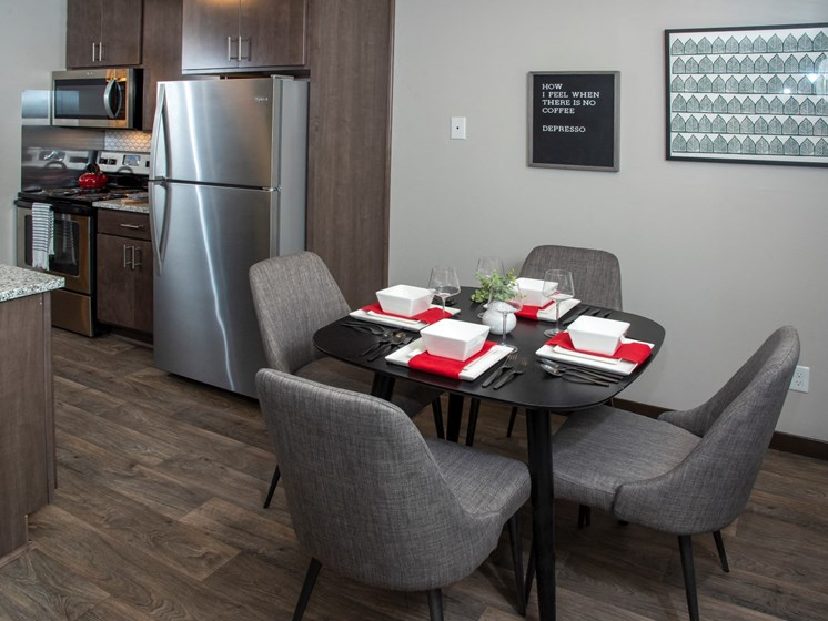 kitchen and dining area at Eagan Place Apartments, Eagan, MN