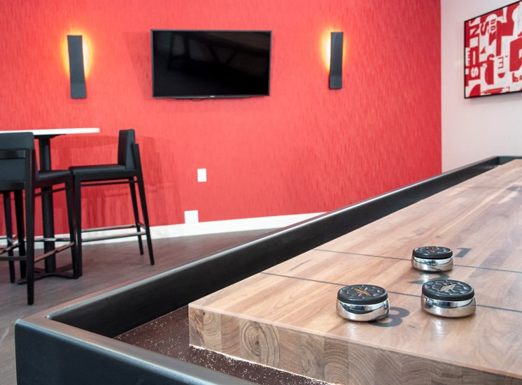 shuffleboard table and gaming at Eagan Place Apartments, Eagan, MN