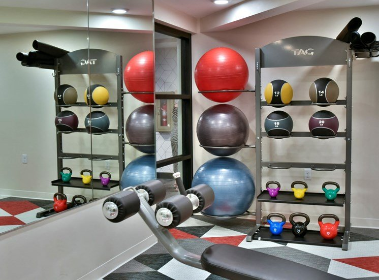 fitness weights and exercise balls