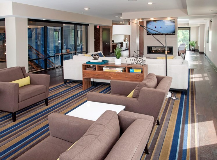 Clubhouse with TV, Fireplace, and Kitchen at Martin Blu, Eden Prairie, Minnesota