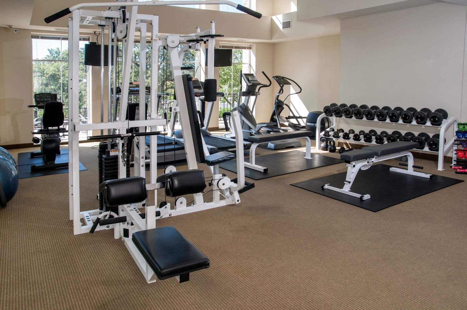Fitness room weights and cardio machines