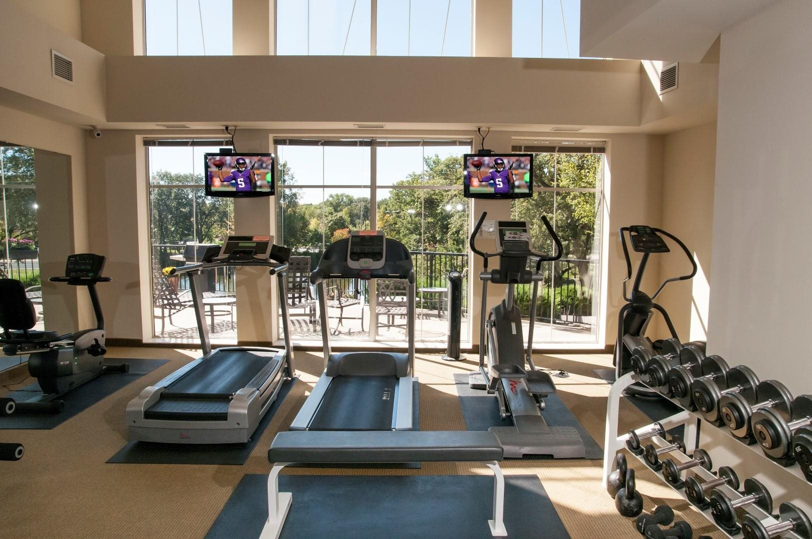 cardio machines overlooking patio and pond