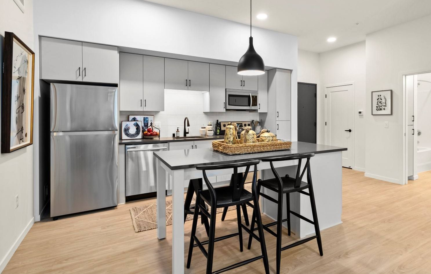 Fitted Kitchen With Island Dining at The Hill Apartments, Saint Paul, 55103