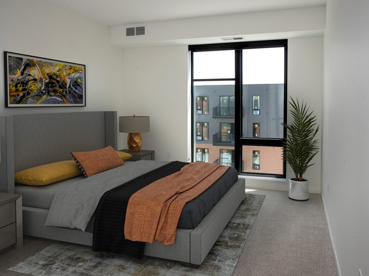 Beautiful Bright Bedroom With Wide Windows at The Hill Apartments, Minnesota