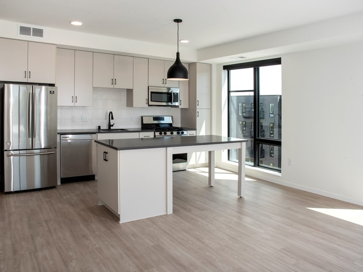 Kitchen and Island at The Hill Apartments, Saint Paul, MN