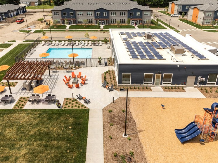 aerial view of pool at the liberty apartments and townhomes in goldon valley mn