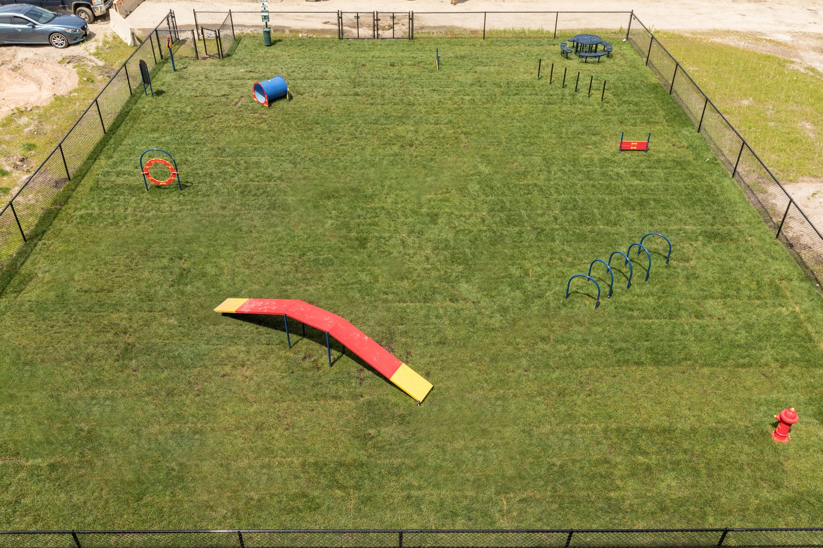 aerial view of dog run at the liberty apartments in golden valley mn