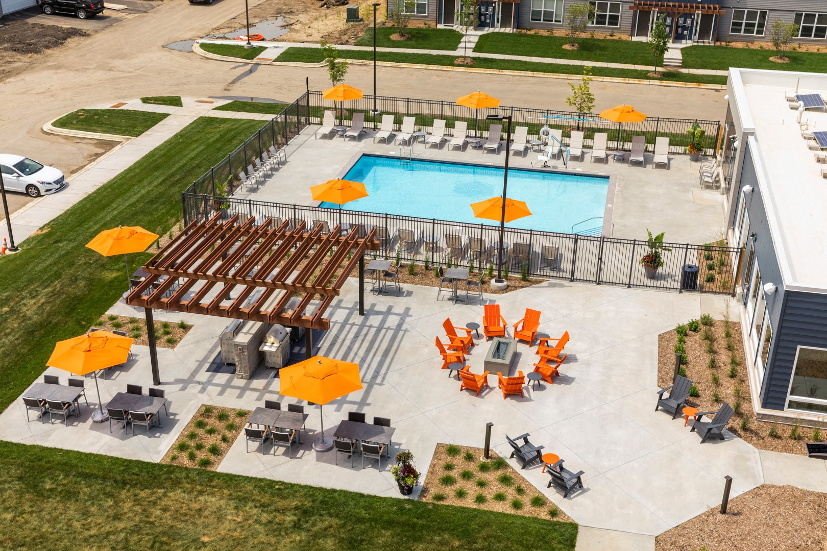 aerial shot of pool and patio at the liberty apartments in golden valley mn