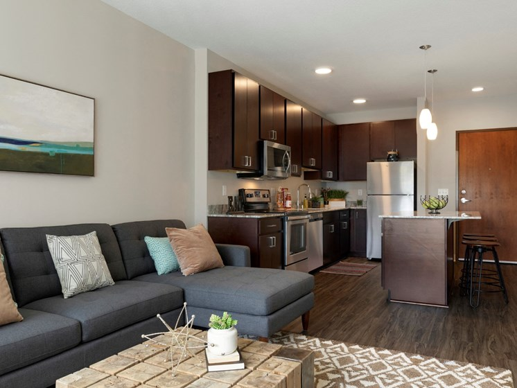 living room and kitchen area at the liberty apartments and townhomes in golden valley minnesota