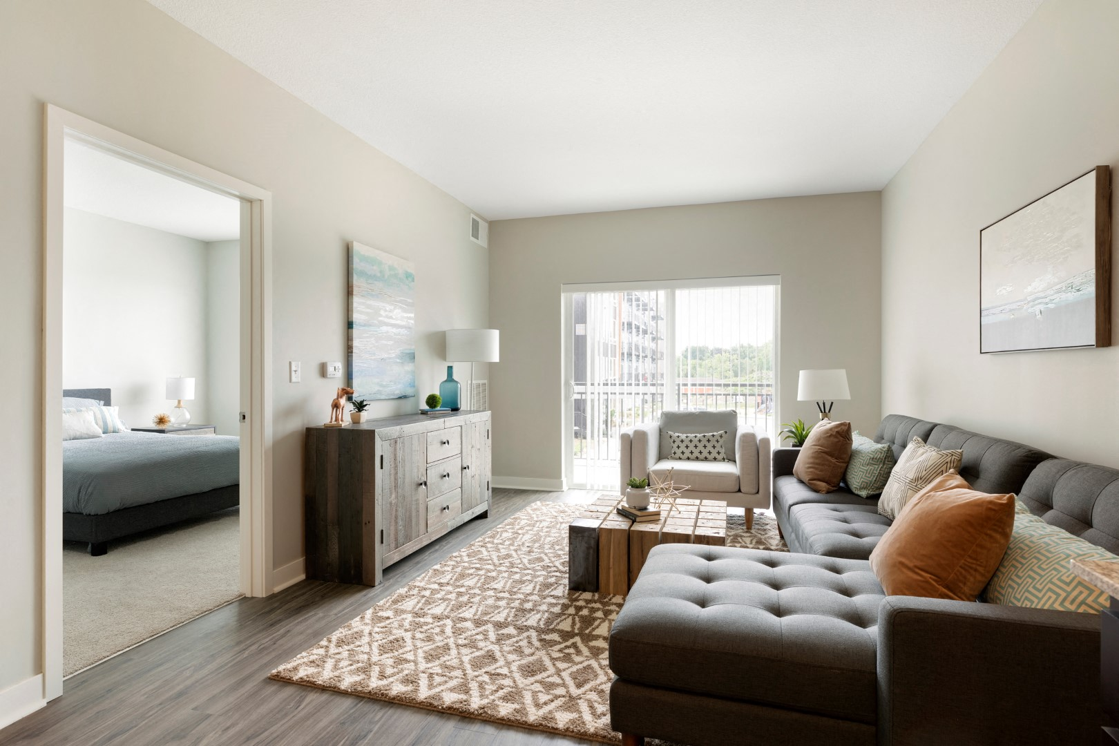 living and master bedroom at the liberty townhomes in golden valley mn