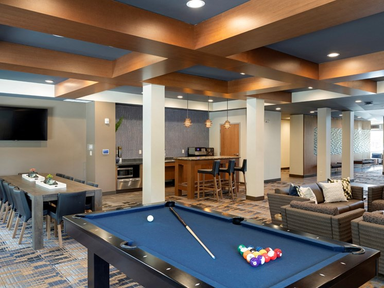 pooltable in clubroom at the liberty apartments in golden valley MN