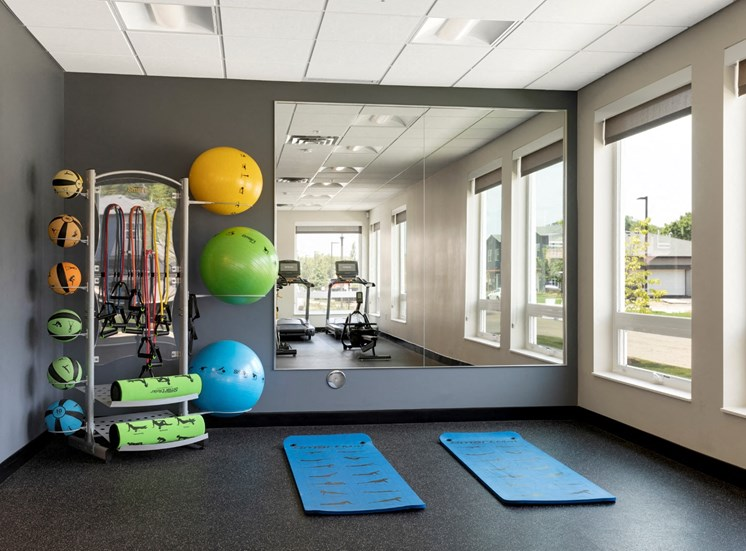 yoga and stretching area at the liberty apartments in golden valley Minnesota