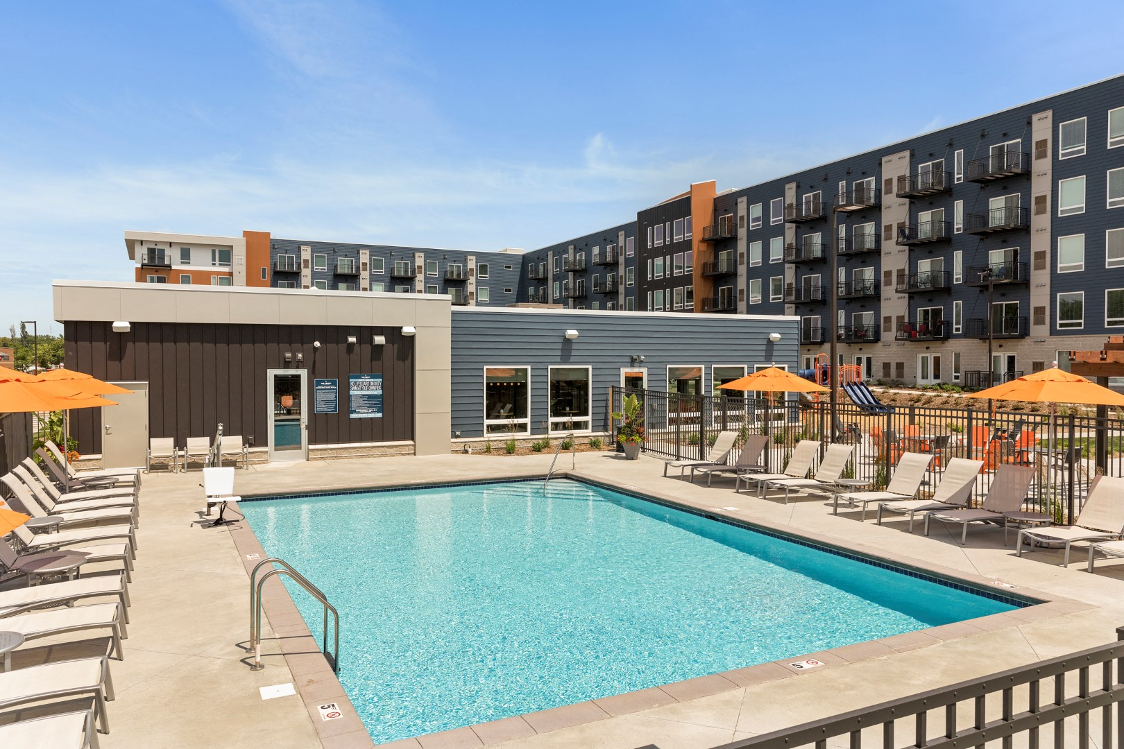 ample seating by the pool at the liberty apartments in golden valley Minnesota