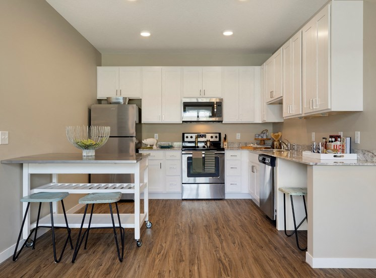 kitchen at the liberty apartments in golden valley mn