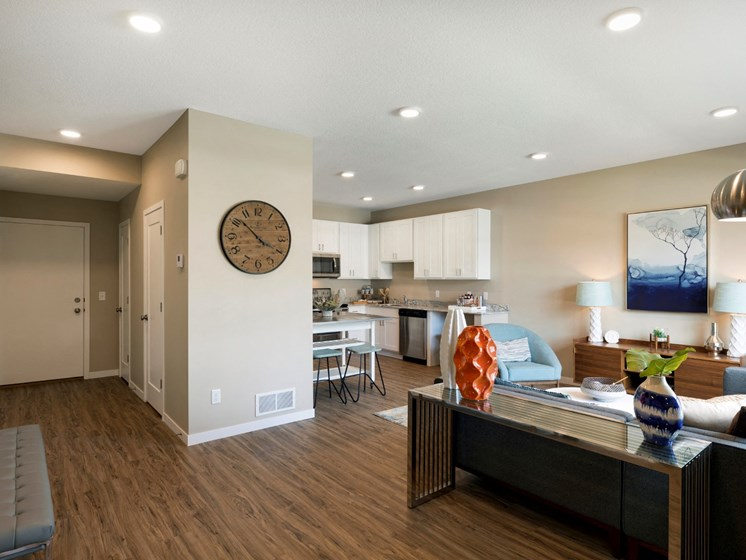 living room and kitchen at the liberty apartments in golden valley MN