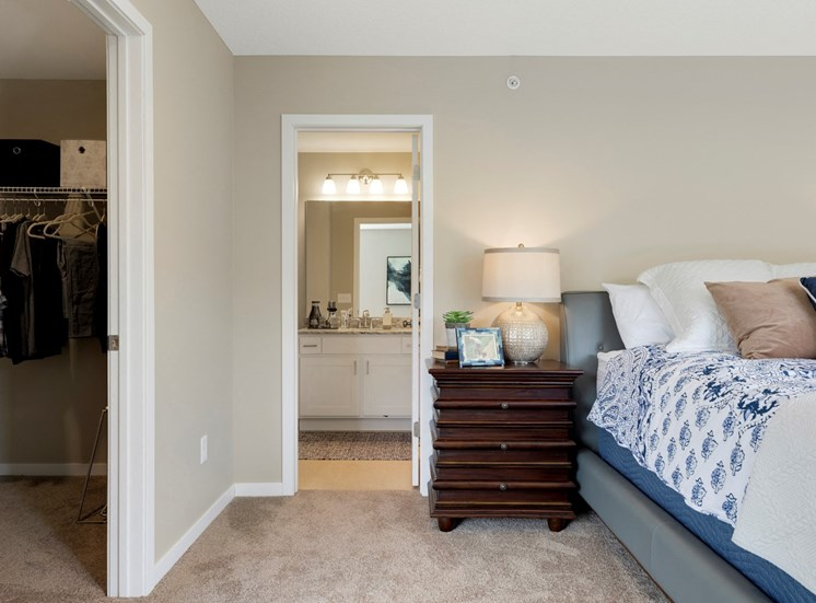 master bed and bath at the liberty apartments and town-homes in golden valley minnesota