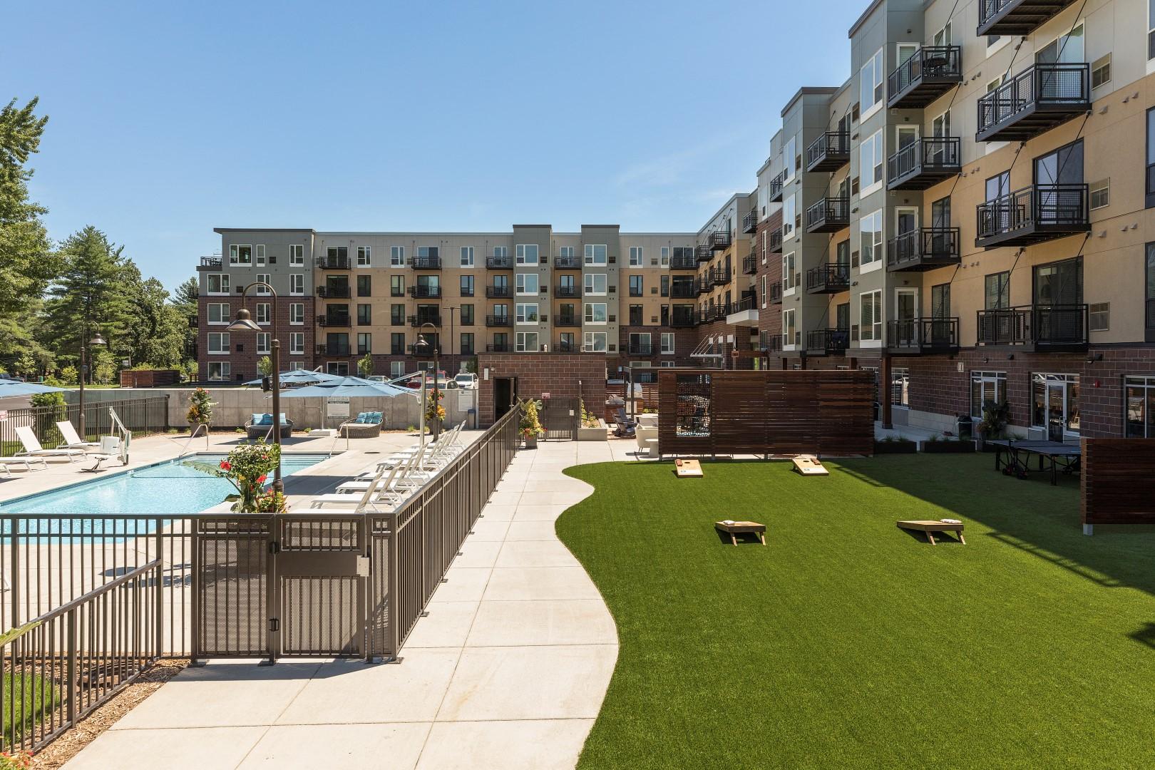 The McMillan Shoreview Exterior Lawn Sun Deck Pool