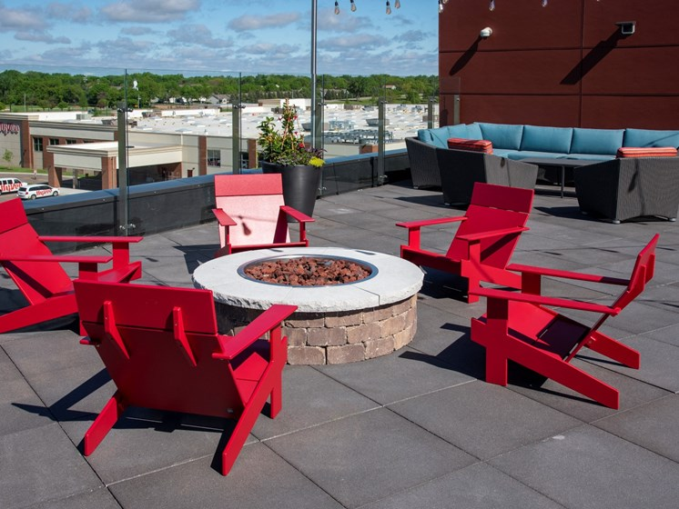 Rooftop fire pit and lounge The Sixton