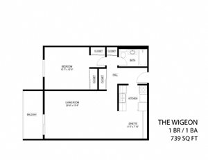 The Wigeon 1 bedroom floor plan drawing with extended cabinetry