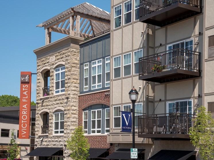 Victoria Flats exterior featuring sunny balconies