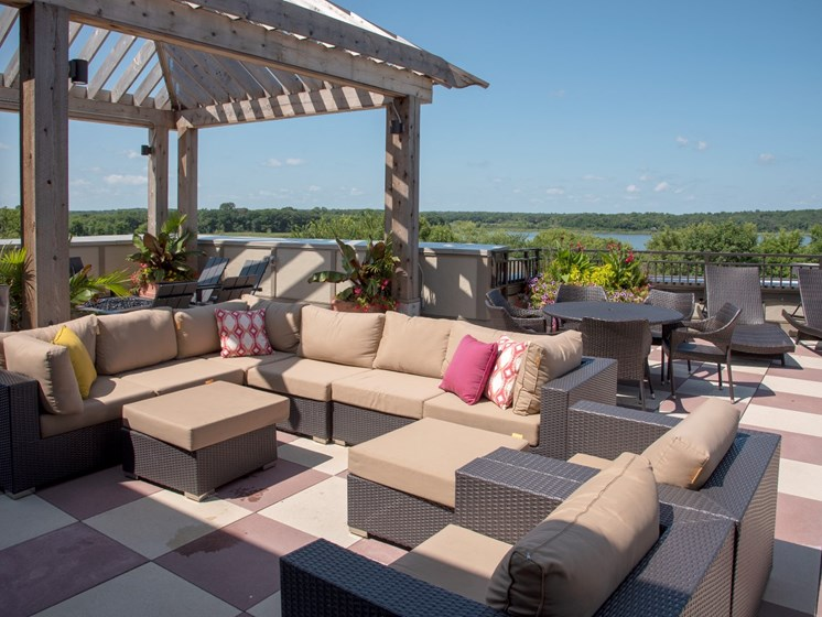 Rooftop patio sectional seating