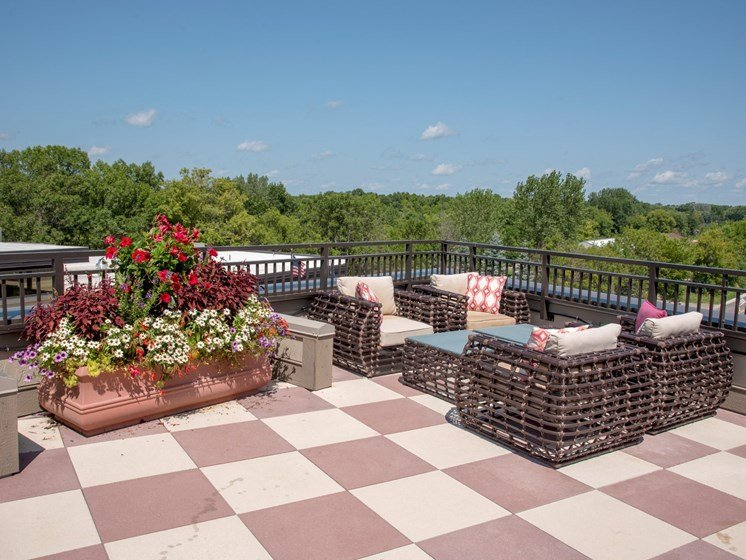 Rooftop patio flower beds and cushioned seating