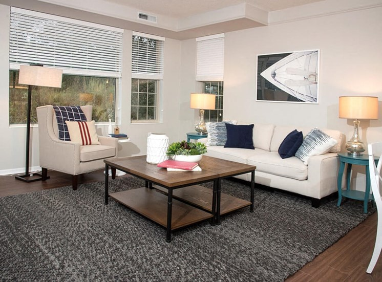 Decorated Living Room at Waterstone Place, Minnetonka, 55305