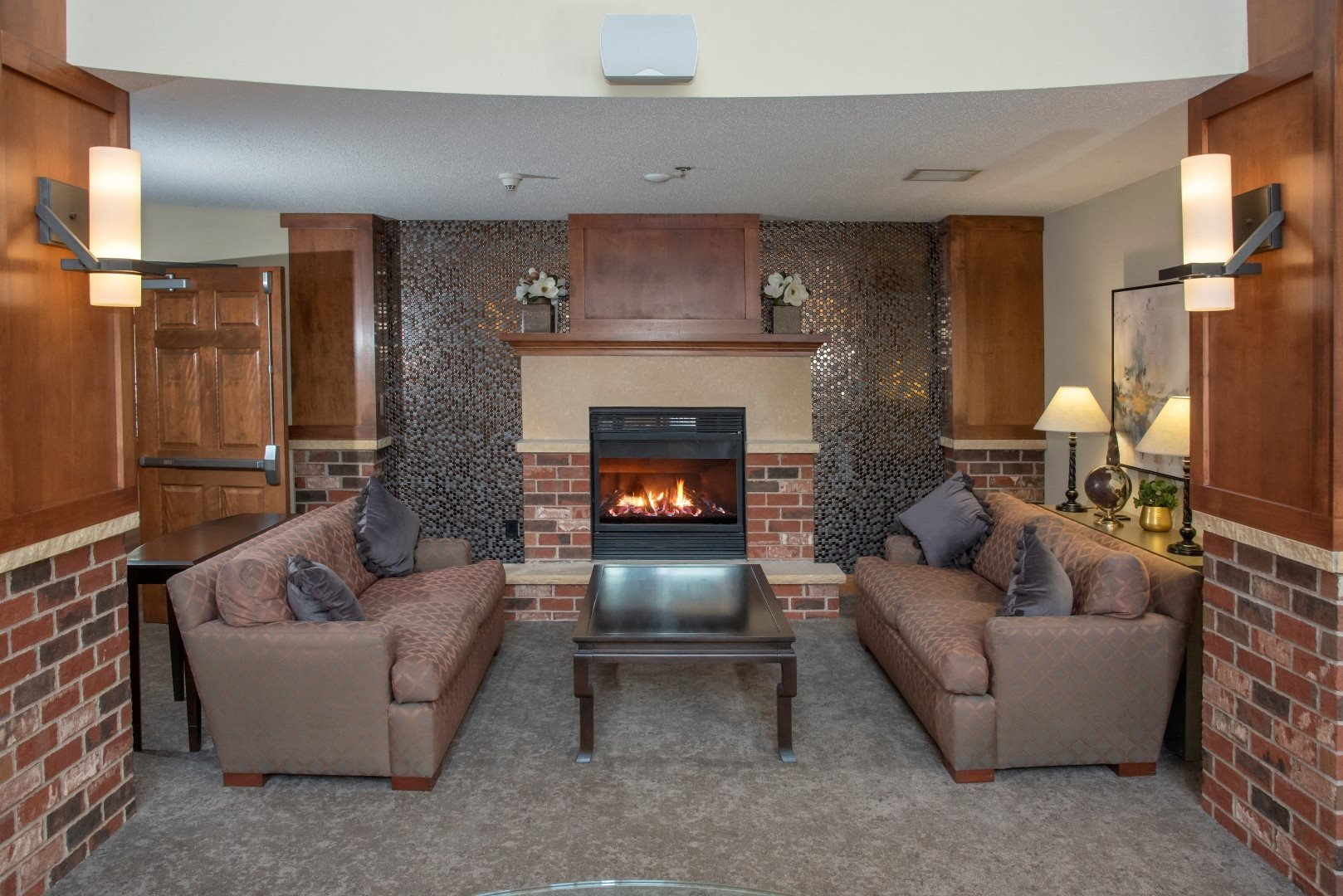 Lobby fireplace and seating area