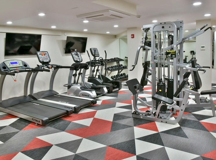 Fitness center With Equipment at Eagan Place Apartments, Eagan, MN